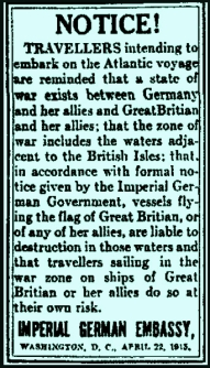 Lusitania warning
